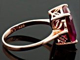 Red Synthetic Ruby 18k Rose Gold Over Sterling Silver Ring 6.15ct