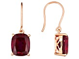 Red Synthetic Ruby 18k Rose Gold Over Sterling Silver Earrings 11.90ctw