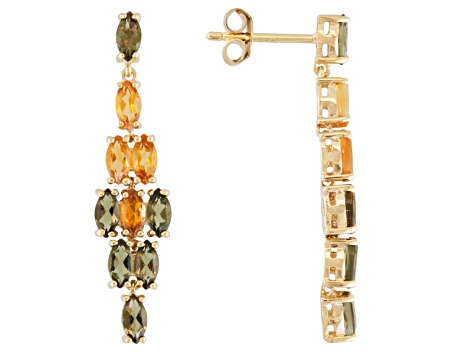 Green Moldavite And Citrine 18k Gold Over Silver Dangle Earrings 2.07ctw