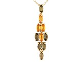 Green Moldavite And Citrine 18k Gold Over Silver Pendant With Chain 1.04ctw