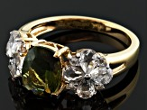 Green Moldavite And White Topaz 18k Yellow Gold Over Sterling Silver Ring 2.85ctw