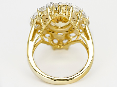 Yellow Citrine And White Topaz 18k Gold Over Silver Ring 6.10ctw