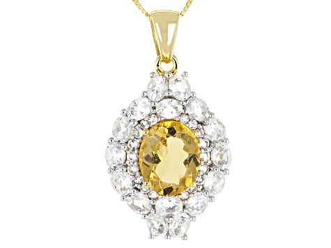 Yellow Citrine 18k Gold Over Silver Pendant With Chain 6.10ctw