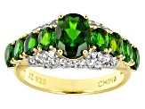 Green Chrome Diopside 18k Gold Over Silver Ring 2.90ctw