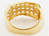 White Zircon 18k Gold Over Silver Buckle Ring 2.47ctw