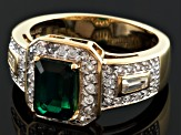 Green Synthetic Emerald And White Zircon 18k Gold Over Silver Ring 2.27ctw
