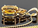 Champagne Quartz 18k Gold Over Silver Pendant With Chain 5.56ctw