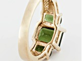 Green Moldavite 18k Yellow Gold Over Sterling Silver Ring 1.95ctw