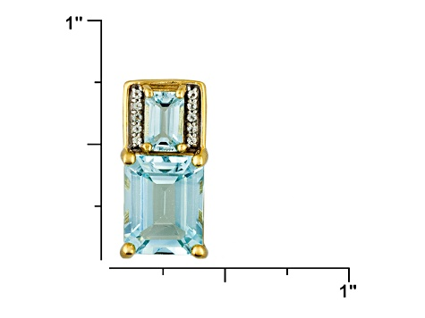 Sky Blue And White Topaz 18k Gold Over Silver Pendant With Chain 4.39ctw