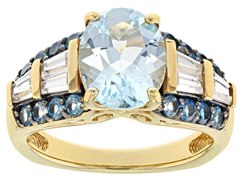Blue Topaz 18k Yellow Gold Over Sterling Silver Ring 4.24ctw