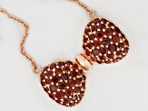 Red Garnet 18k Rose Gold Over Silver Bow Shape Necklace 3.42ctw
