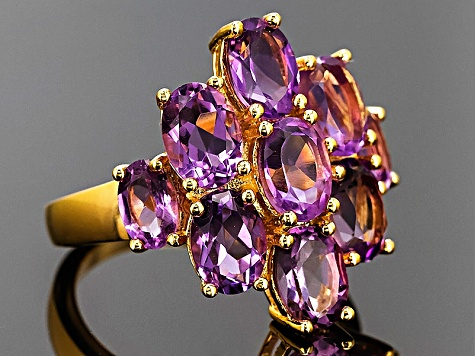 Purple Brazilian Amethyst 18k Gold Over Silver Ring 5.45ctw