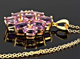 Orchid Brazilian Amethyst 18k Gold Over Silver Pendant With Chain 5.45ctw