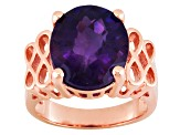 Purple African Amethyst 18k Rose Gold Over Silver Ring