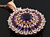 Purple Amethyst And White Topaz 18k Rose Gold Over Silver Pendant With Chain 3.92ctw