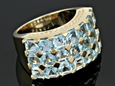 Sky Blue Topaz 18k Yellow Gold Over Sterling Silver Ring 6.81ctw