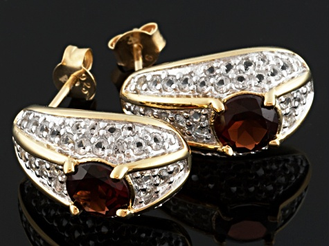 Red Garnet And White Topaz 18k Gold Over Silver Earrings 2.50ctw