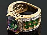 Green Mystic® Topaz, Chrome Diopside And White Topaz 18k Gold Over Silver Ring  6.80ctw
