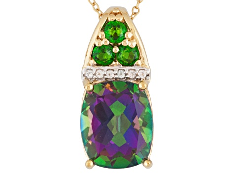 Mystic And White Topaz And Chrome Diopside 18k Gold Over Silver Pendant With Chain 5.76ctw