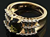 Green Moldavite 18k Gold Over Silver Ring 1.75ctw