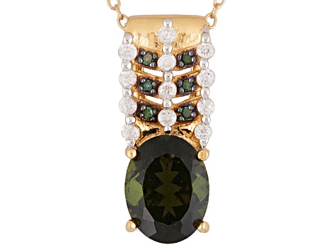 Green Moldavite, White Zircon And Green Diamond 18k Gold Over Silver Pendant With Chain 1.47ctw