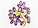 Purple African Amethyst And White Topaz 18k Gold Over Silver Floral Ring 3.79ctw