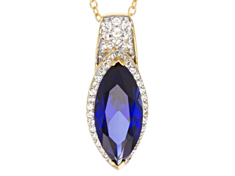 Synthetic Blue Sapphire And White Topaz 18k Gold Over Sterling Silver Pendant With Chain 3.32ctw