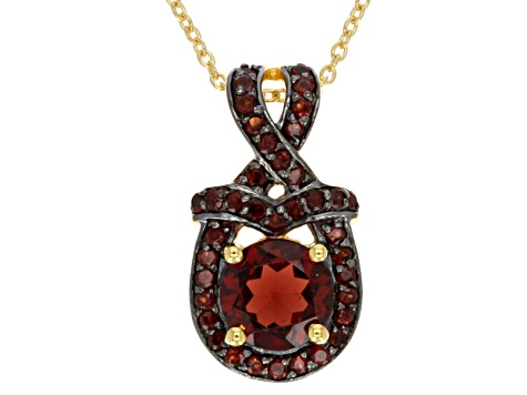 Red Garnet 18k Gold Over Silver Pendant With Chain 1.53ctw