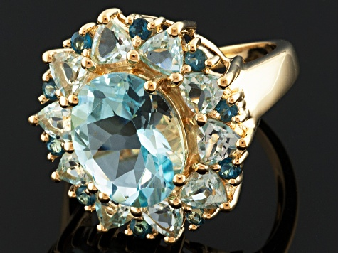 Blue Topaz 18k Gold Over Silver Ring 8.07ctw