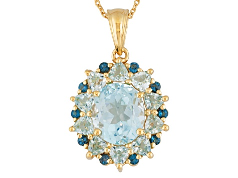 Blue Topaz 18k Gold Over Silver Pendant With Chain 8.07ctw
