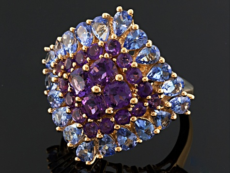 Amethyst And Tanzanite 18k Gold Over Sterling Silver Ring 4.95ctw