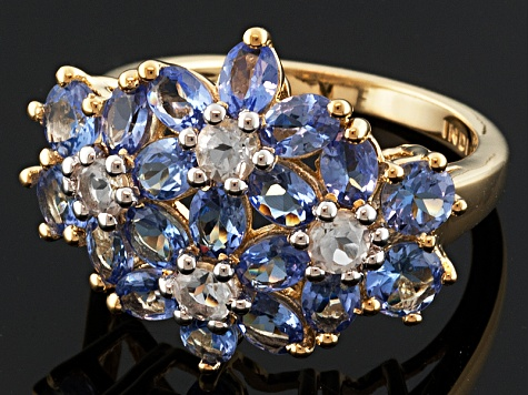 Blue Tanzanite And White Topaz 18k Gold Over Sterling Silver Ring 3.75ctw
