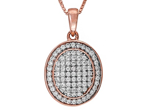White Zircon 18k Rose Gold Over Sterling Silver Pendant With Chain .52ctw