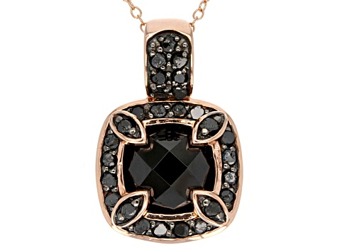 Black Spinel And Black Diamond 18k Rose Gold Over Sterling Silver Pendant With Chain 4.67ctw