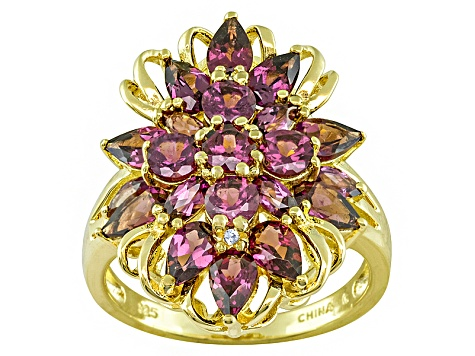 Purple Rhodolite And White Zircon 18k Gold Over Silver Ring 3.53ctw
