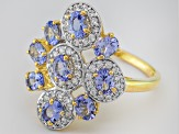 Blue Tanzanite And White Zircon 18k Gold Over Silver Ring 2.11ctw