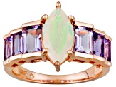 Ethiopian Opal And Amethyst 18k Rose Gold Over Silver Ring 2.80ctw