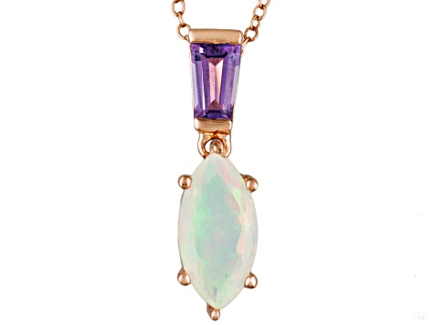 Ethiopian Opal 18k Rose Gold Over Silver Pendant With Chain 1.31ctw