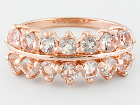 Pink Morganite 18k Rose Gold Over Silver Ring 1.25ctw