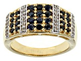 Blue Sapphire 18k Yellow Gold Over Sterling Silver Ring 1.04ctw