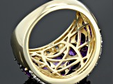 Purple Amethyst 18k Yellow Gold Over Sterling Silver Ring 5.18ctw