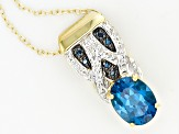 London Blue Topaz 18k Gold Over Silver Pendant With Chain 1.97ctw