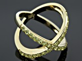 Green Peridot 18k Gold Over Silver Ring .99ctw
