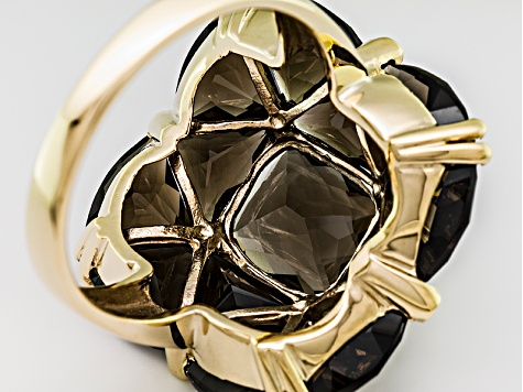 Brown Smoky Quartz And White Topaz 18k Yellow Gold Over Silver Ring 12.75ctw