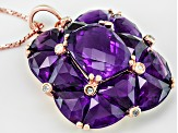 Purple African Amethyst And White Zircon 18k Rose Gold Over Silver Pendant With Chain 12.75ctw