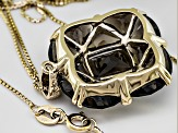 Smoky Quartz And White Zircon 18k Gold Over Sterling Silver Pendant With Chain 12.75ctw