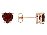 Red Garnet 18k Rose Gold Over Silver Earrings 2.00ctw