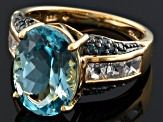 Sky Blue Topaz 18k Gold Over Silver Ring 7.70ctw