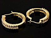 White Topaz 18k Gold Over Silver inside Out Style Hoop Earrings 4.41ctw
