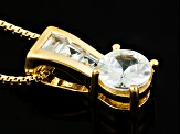 White Zircon 18k Yellow Gold Over Sterling Silver Pendant With Chain 1.41ctw